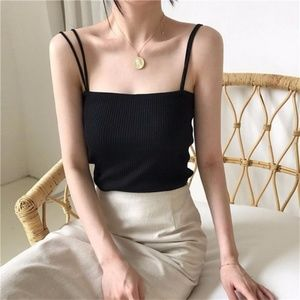 Double-Strap Cropped Black Camisole